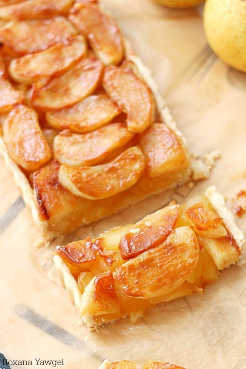 Tarta de manzana con dulce de leche